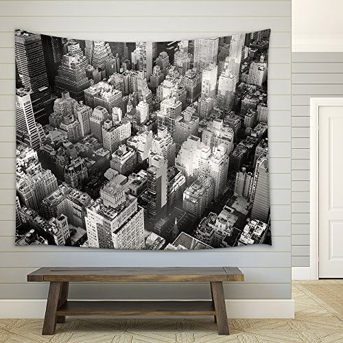 Black and White Urban Landscape of New York City Fabric Wall