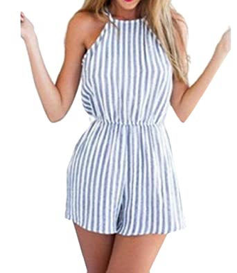 5740414f84d7 Comfy-Women Strap Backless Striped Waist Sexy Relaxed Rompers Shorts Blue XS