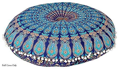 "Popular Handicrafts Kp834 Large Hippie Mandala Floor Pillow - Cushion - Pouf Cover Round Bohemian Yoga Decor Floor Cushion Case- 32"" Blue Tarqouish"