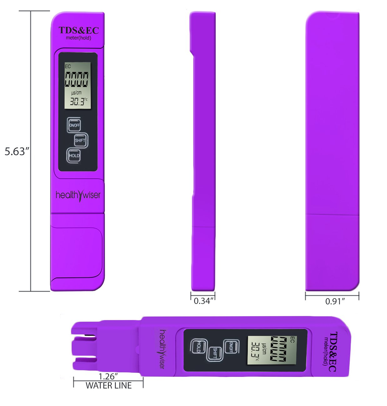 TDS Meter, Professional-Grade Water Test Kit Tests Water Quality in Drinking Water, General Hydroponics, Aquariums, Ponds, Pool, Spa, Water Purifier, 100% Accurate 3 in 1 TDS, EC and Temperature Meter