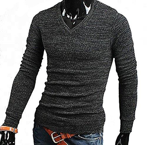 Tophaz Men's Stylish Slim Knitted Basic V Neck Sweater Thin Pullover SW06, Dark Grey Medium