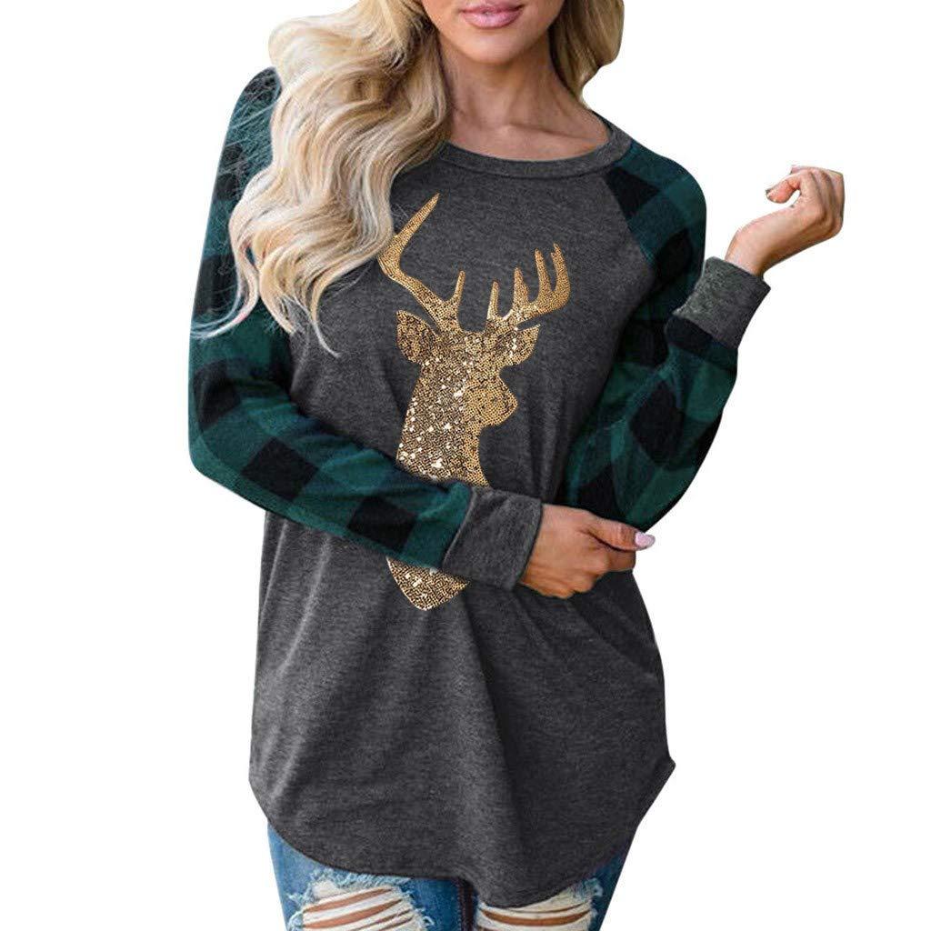 TOTOD Women Christmas Plaid Raglan Long Sleeve Top Casual Tee T-Shirt Reindeer Print Jumper Tops