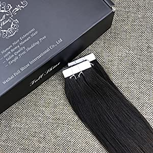 """Full Shine 20"""" Balayage Tape in Hair Extensions Human Hair Skin Weft Hair Extensions Dip Dyed Color #1B Fading to #6 and #27 Honey Blonde 20 Pcs 50gram Per Package"""