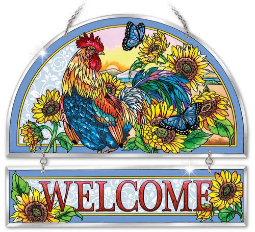 """Stained Glass Suncatcher 12"""" X 11"""" Welcome Sign Rooster Morning Sun"""