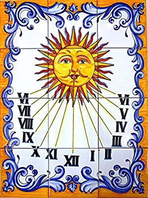 Art Escudellers Mural Reloj DE Sol de cerámica Pintado a Mano. 45 cm x 60 cm.