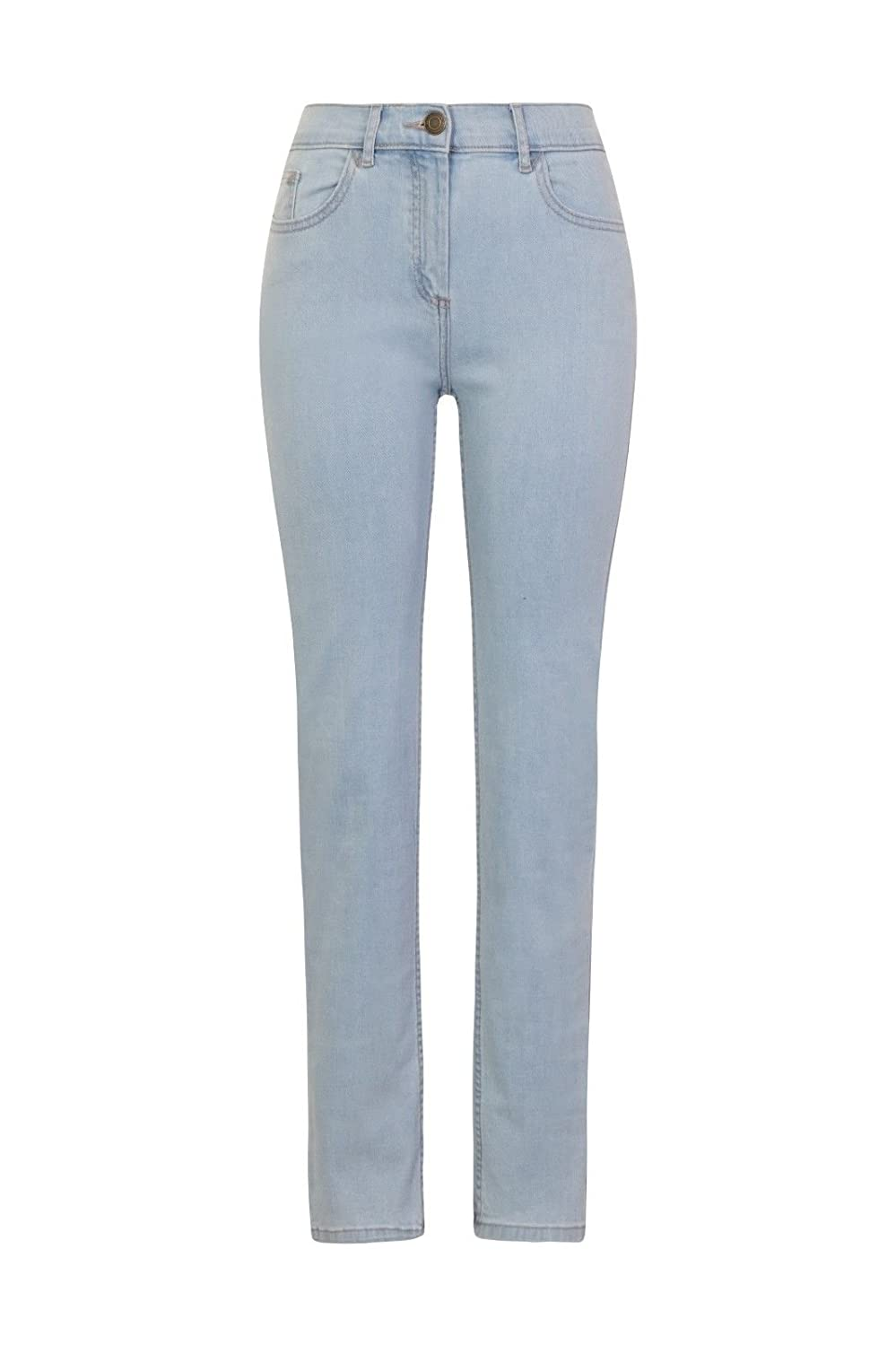 Fashion Apparel for Women Mid Rise Cotton Denim with Added Stretch Ex High Street Brand Ladies Straight Leg Jeans