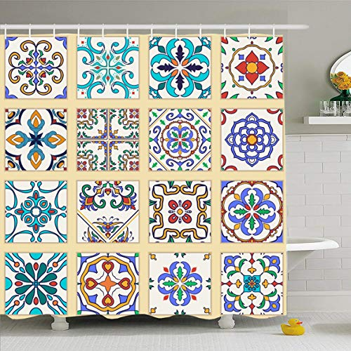Ahawoso Shower Curtain 72 x 78 Inches Cross Blue Flower Portuguese Tiles Colored Abstract Orange Arabesque Modern Azulejo Mosaic Wall Tile Waterproof Polyester Fabric Bathroom Set with ()
