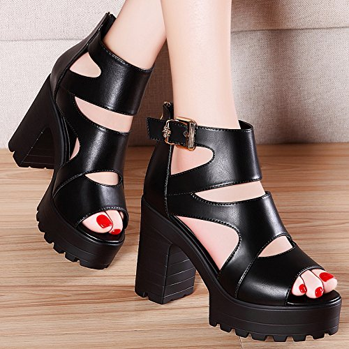 Thick Summer Spring High Shoes New Shoes 2018 Fish Mouth heels Sandals Jqdyl Thick Black Wild Heel With High zq7Pdwx