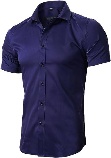 Camiseta Elástica de Vestir Hombre, Manga Corta, Slim Fit, T-Shirt Bambú Fibra Elástica Formal para Hombres: Amazon.es: Ropa y accesorios
