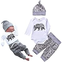 Unutiylo Baby Bear Boy Outfit Sets Letter Print Rompers, Long Pants and Hat 3PCS Newborn Baby Boy Clothes (Long Sleeve)