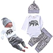 Baby Bear Boy Outfit Sets Letter Print Rompers, Long Pants and Hat 3PCS Newborn Baby Boy Clothes White