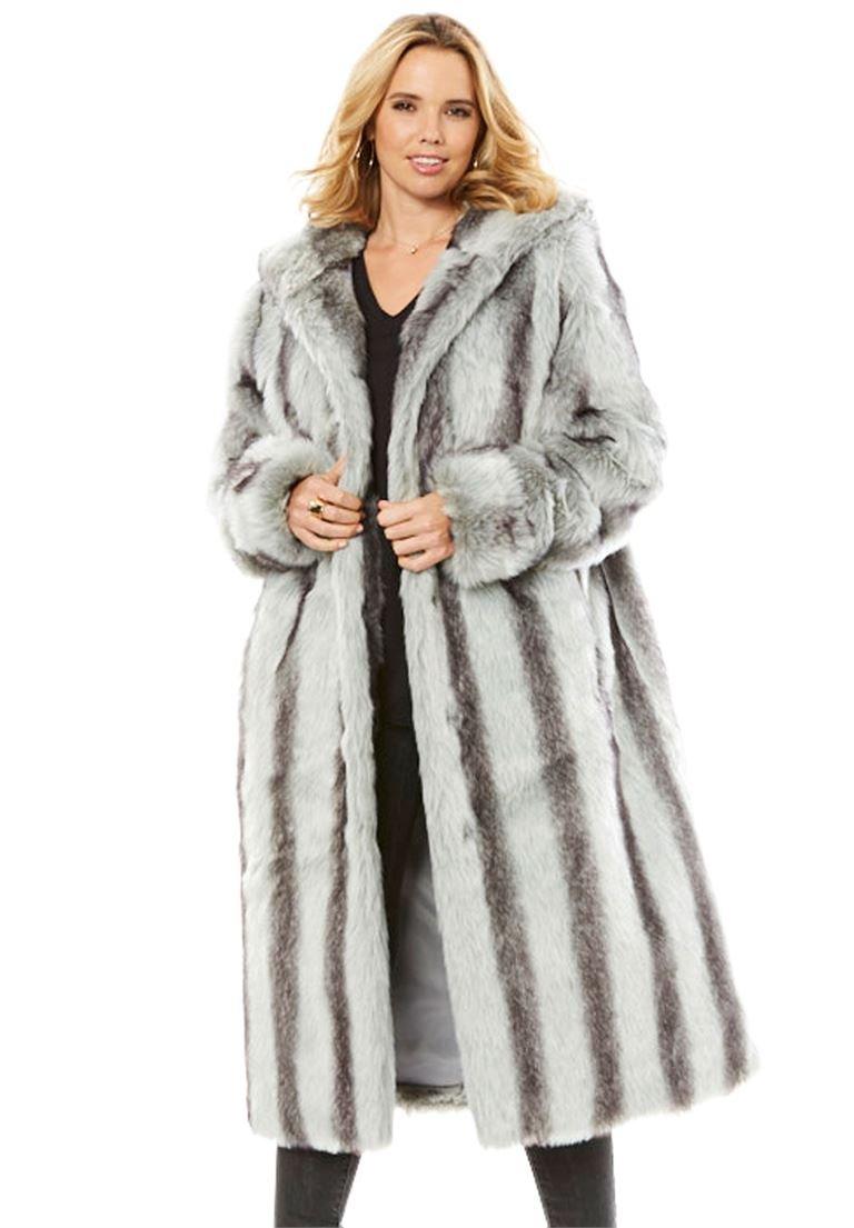 Roamans Women's Plus Size Long Imitation Fur Coat Chinchilla,2X