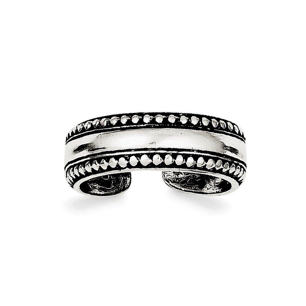 Brilliant Bijou Solid .925 Sterling Silver Antiqued Toe Ring Size