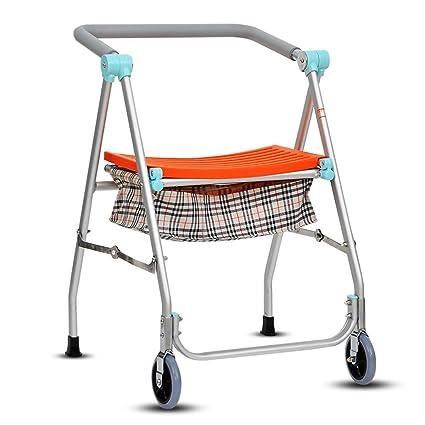 HJHY ayudas para caminar, Cuatro esquinas Walker Con asiento Muleta de silla de ruedas Walker