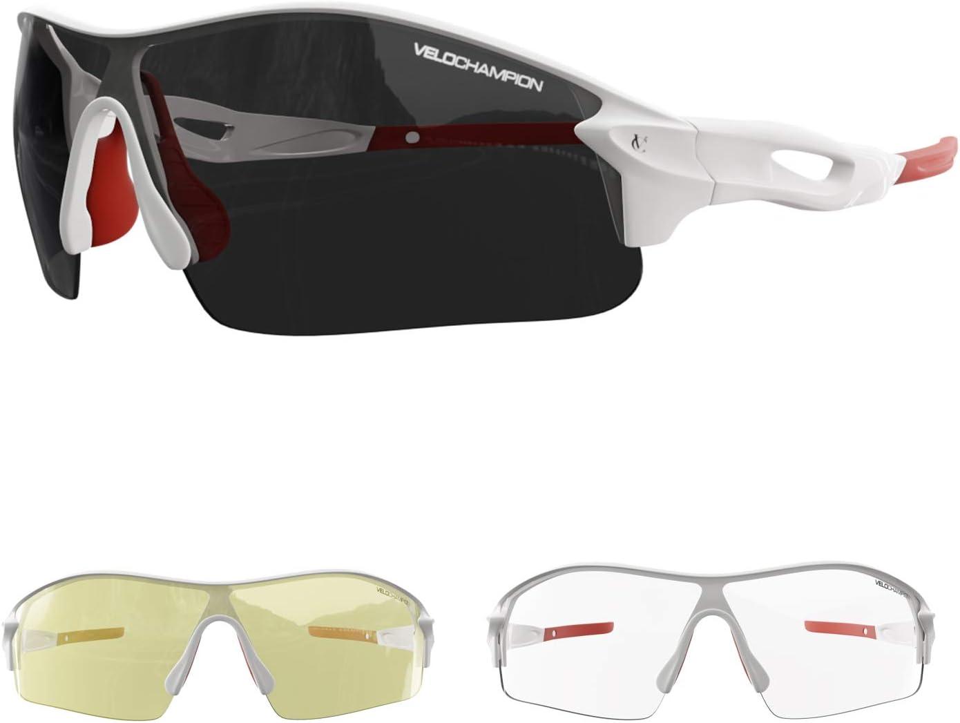 VeloChampion Warp Ciclismo Conducción MTB Gafas de Sol híbridas Correr Gafas Deportivas Protección UV400 y 2 Lentes de Repuesto incluidos