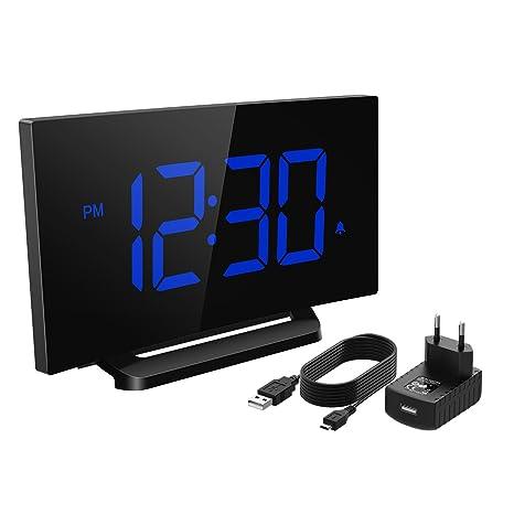 Mpow Reloj Despertador Digital, Reloj de Pantalla Curva LED ...