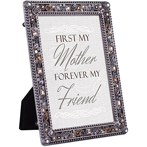 First My Mother Forever Friend Jeweled Pewter Finish 4x6 Photo Frame Plaque