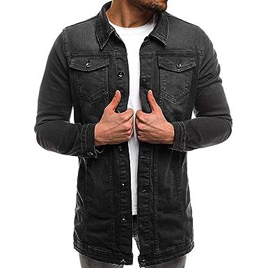 Littleice Men Demin Jacket Tops Blouse Mens Autumn Winter Long Sleeve Vintage Distressed Outwear Coat (