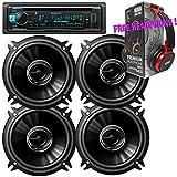 Package - 2 Pairs of Pioneer TS-G1345R 5-1/4'' 2-way 250W Car Speakers + Kenwood KDC-BT31 Single-DIN In-Dash Bluetooth CD Receiver + Free EBH700 Headphone