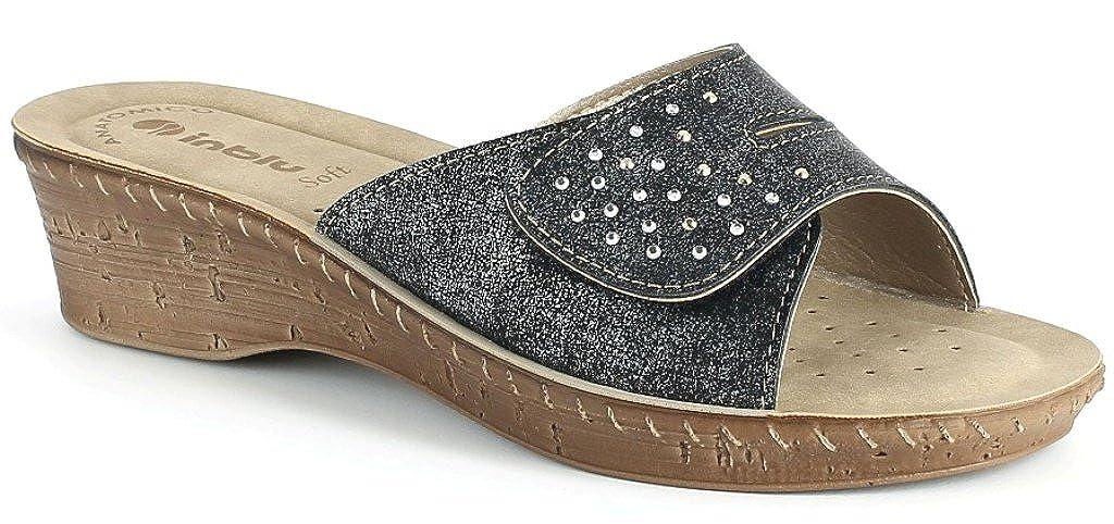 INBLU Ciabatte, Pantofole Donna Mod. Mod. Mod. 26-63 Velcro Nero Linea Benessere f4b7d2