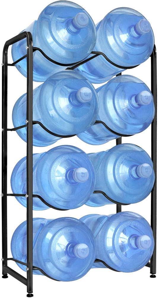 Enrack Water Cooler Jug Rack, 4-Tier Heavy Duty Carbon Steel Water Bottle Holder for 8 Bottles, 3-Gallon or 5-Gallon Water Jug Storage Organizer for Kitchen, Restaurant, and Office. Black