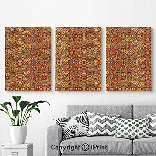 (Wall Art Decor 3 Pcs High Definition Printing Vintage Hand Drawn Style Ottoman Figures Ancient Trellis Floral Motifs Painting Home Decoration Living Room Bedroom Background,16