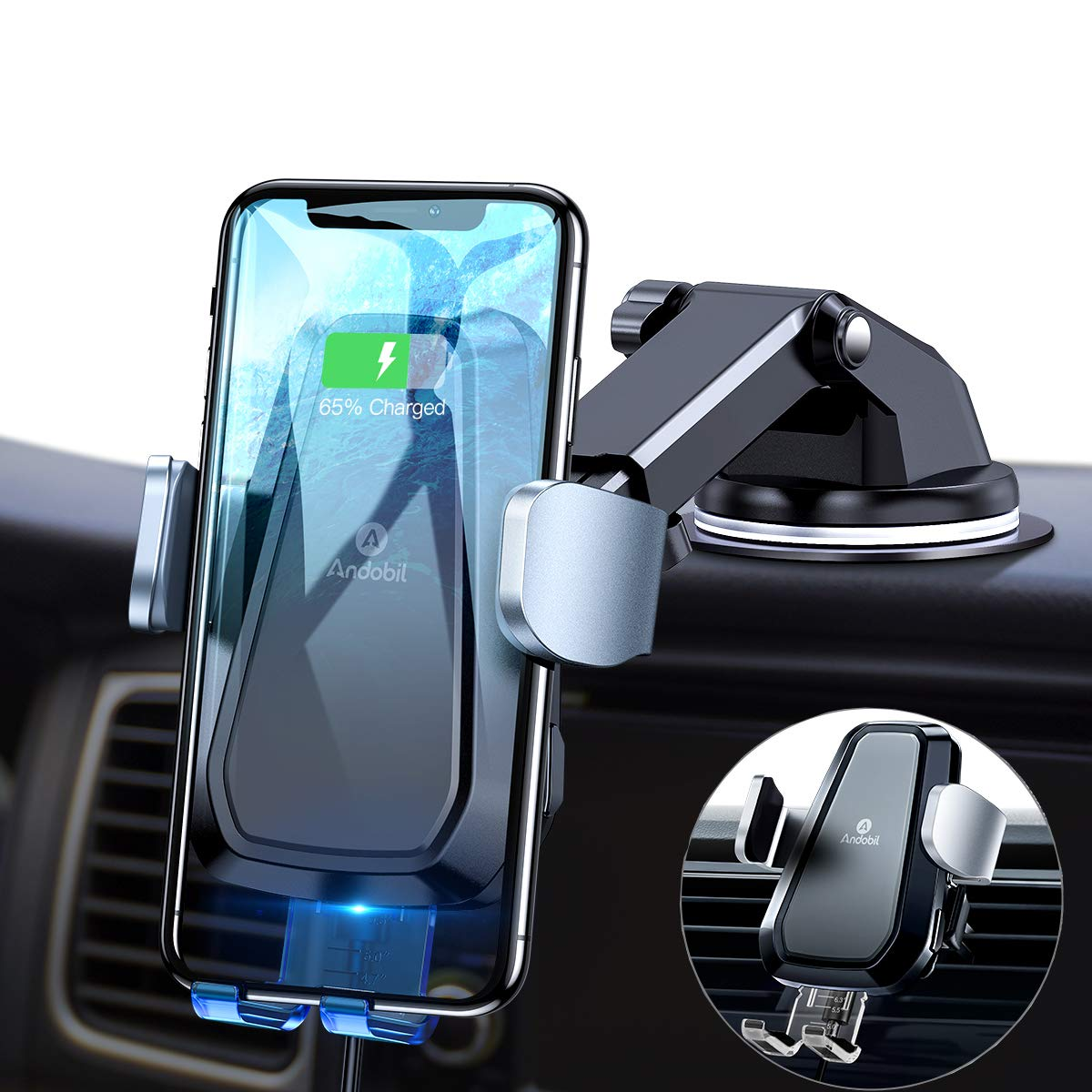 andobil One Touch Wireless Car Charger Mount, Auto-Clamping Qi Cellphone Holder for Car Cradle Compatible iPhone X/Xs/Xs Max/XR /8/8 Plus, Samsung Galaxy S10e/S10/S10 Plus/S9+/S9/S8+/S8/Note 9/Note 8