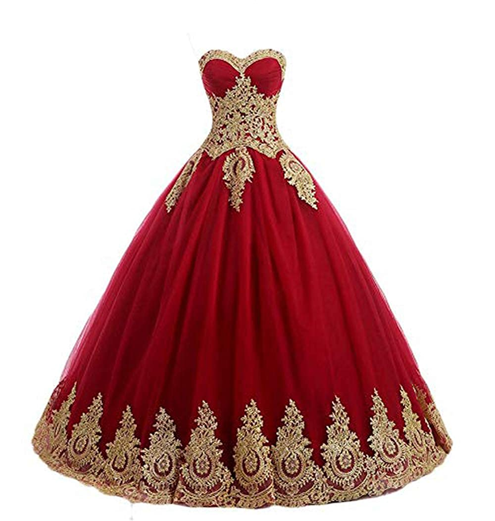 Red FTBY Women's Appliques Quinceanera Dresses gold Lace Ball Gown Sweetheart Plus Size Prom Dress