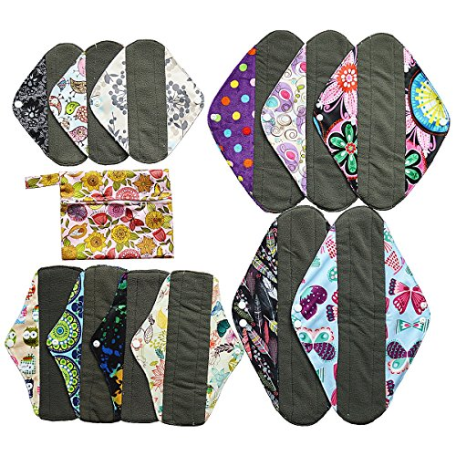 13pcs Set 1pc Mini Wet Bag + 12pcs Charcoal Bamboo Mama Cloth/ Menstrual Pads/ Reusable Sanitary Pads by Hibaby