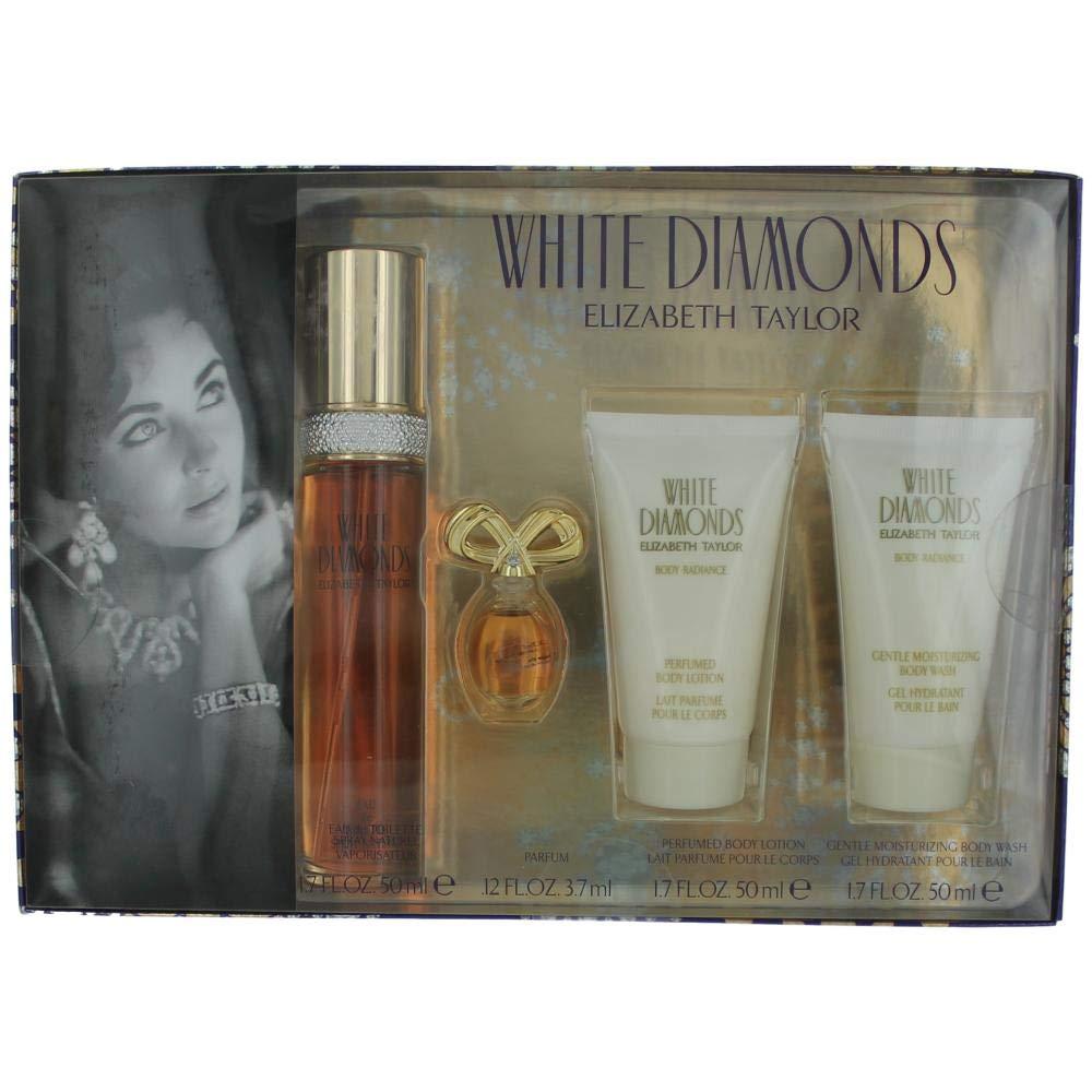 Elizabeth Taylor's White Diamonds 4 Pc Gift Set for Women Includes 1.7 Oz Cologne (EDT) Spray, .12 Oz Perfume (EDP), 1.7 Oz Body Lotion, and 1.7 Oz Body Wash