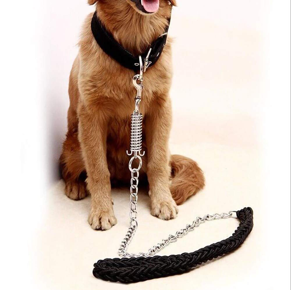 Black Medium Black Medium Nylon Woven Pet Leash Alloy Fastener Slip Lead for Dogs Nylon Comfort Handle Hand Made Explosion-Proof Adjustable Collar Suitable for Walking Strong and Sturdy 1.3m