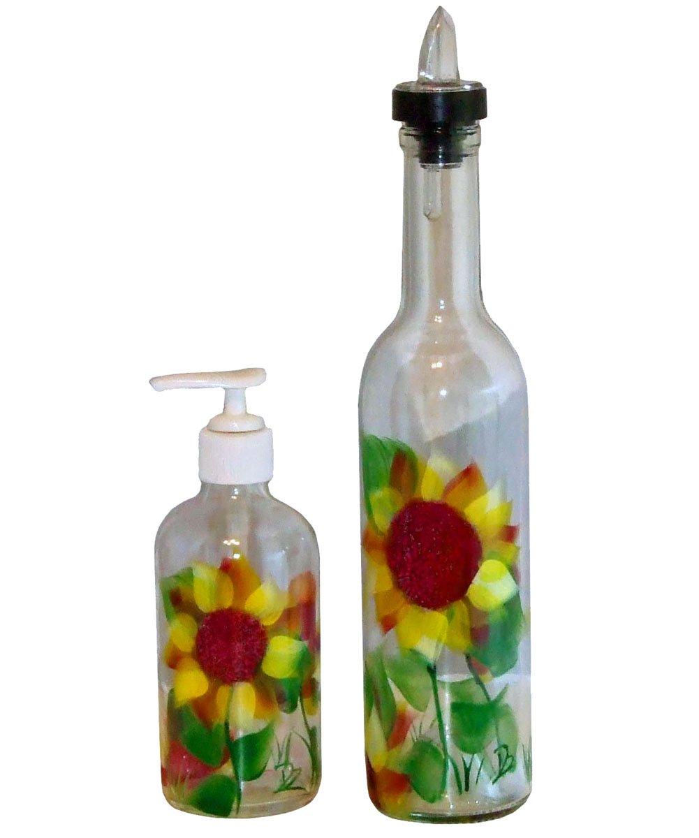 ArtisanStreet's Sunflower Design Pour Bottle & Soap Pump Dispenser Set. Hand Painted on Clear Glass. by ArtisanStreet