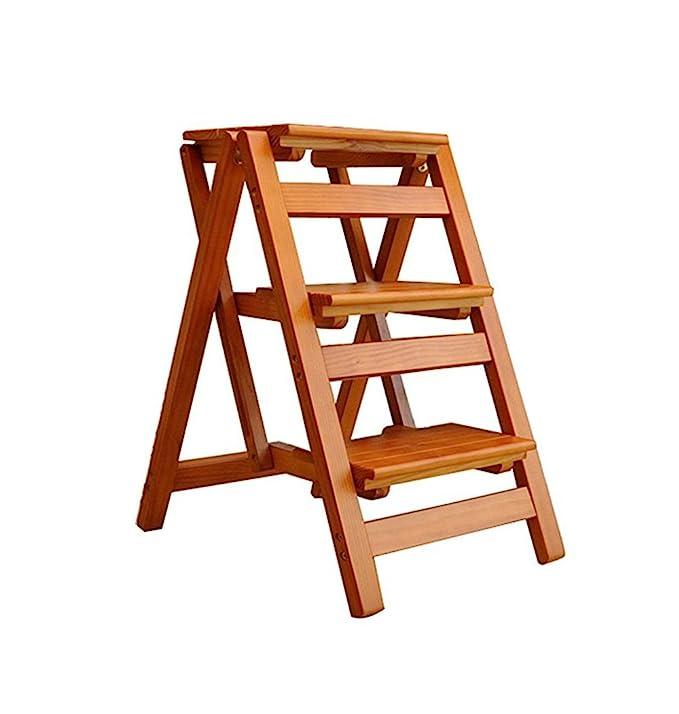 Amazon.com: Escalera de 3 peldaños de madera maciza silla ...