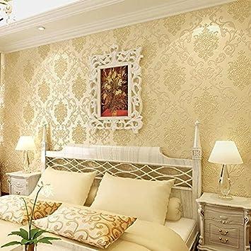 Wandtapete Vliestapete Tapete 3D Beflockung Vergoldet Schlafzimmer  Wohnzimmer TV Hintergrund Wand Tapezieren , 8785 Gold