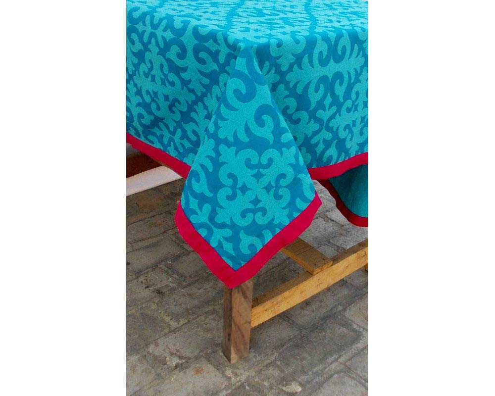 VLiving Table Cloth Moroccan Print Bright Pink Border 100% Cotton Table Cloth Printed Tablecloth Removable Tassel Bohemian Tribal (Turquoise, 60X90)