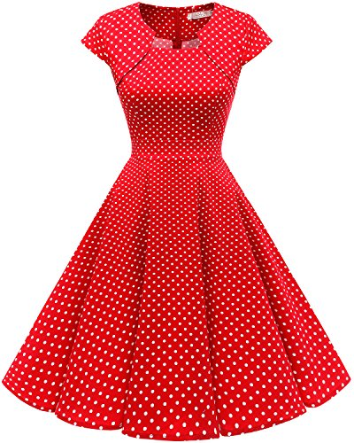 Homrain Women's 1950s Retro Vintage A-Line Cap Sleeve Cocktail Swing Party Dress Red White Small Dot XL -