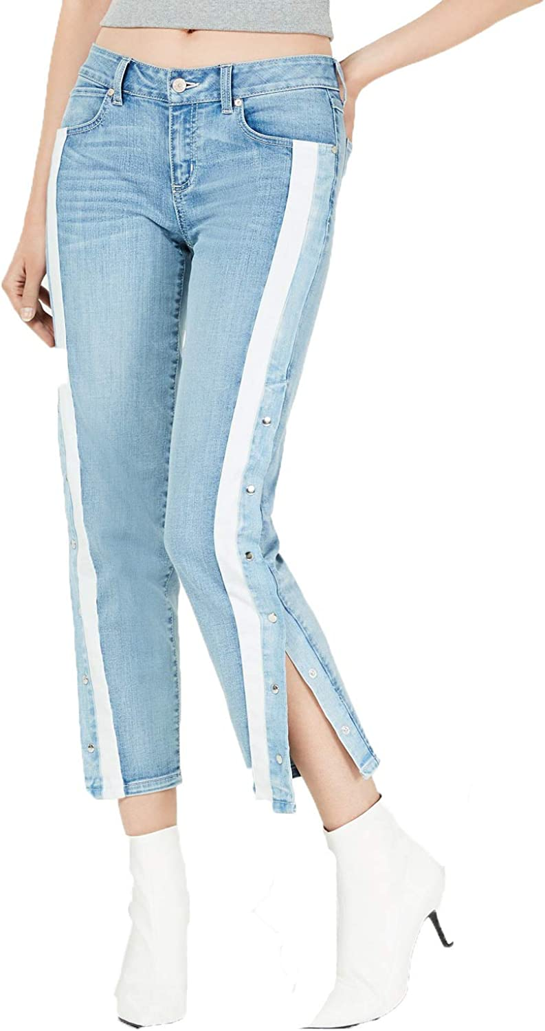 Rewash Juniors Striped Snap-Side Jeans
