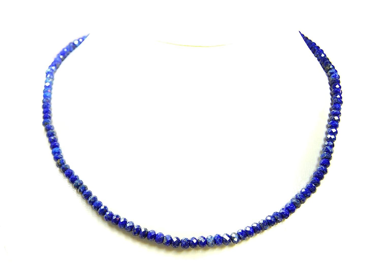 Bezaubernde Edelsteinkette aus Lapislazuli in facettierter Radform