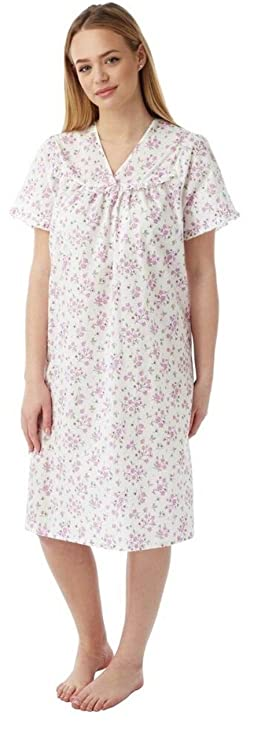 397e875308 Ladies Incontinence Open Back Floral Poly Cotton Hospital Nightdresses  Nightie By Lady Olga  Amazon.co.uk  Clothing