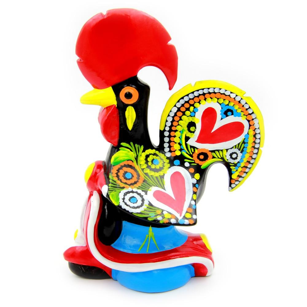 M Oliveira - Gallo decorativo de arcilla portuguesa tradicional pintado a mano con bicicleta: Amazon.es: Hogar