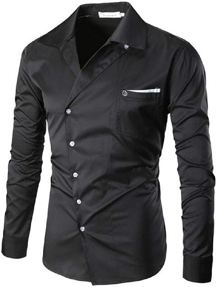 X-Future Mens Button Up Vogue Long Sleeve Shirt with Pockets
