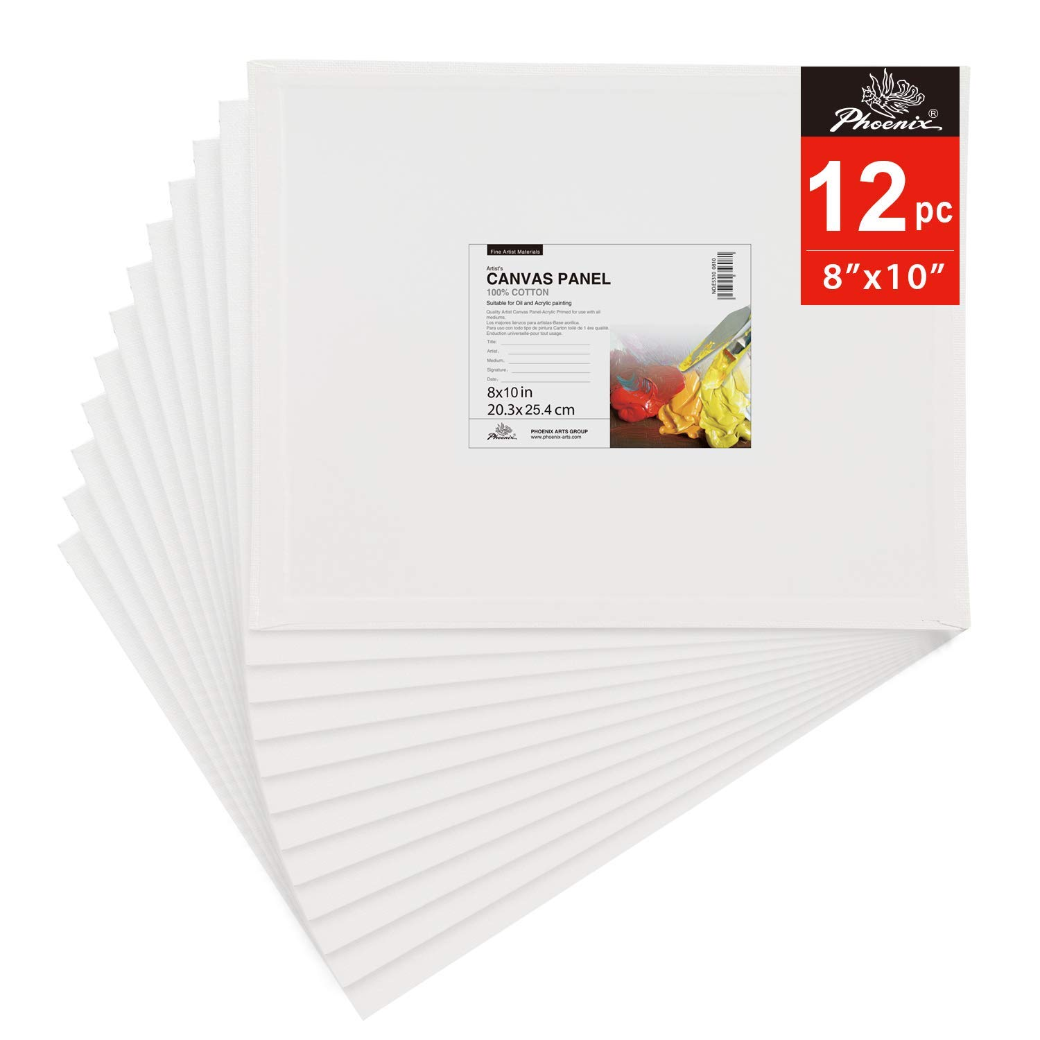 PHOENIX Painting Canvas Panel Boards - 8x10 Inch / 12 Pack - 1/7 Inch Deep Super Value Pack for Oil & Acrylic Paint by PHOENIX