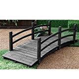 Svitlife 6-Ft Outdoor Wooden Garden Bridge with Handrails in Dark Charcoal Wood Stain Garden Outdoor Wooden Bridge Wood Walkway Ft Pond Decor