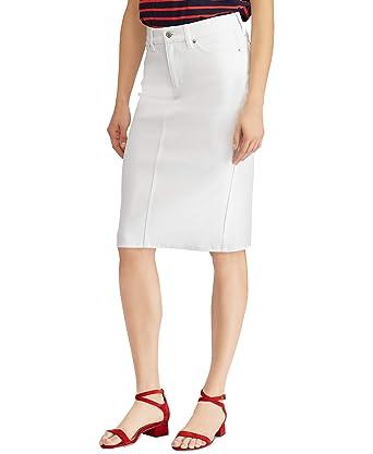 aina suosittu tehtaanmyymälä paras tukkumyyjä Lauren Ralph Lauren Denim Straight Knee-Length Skirt (White ...
