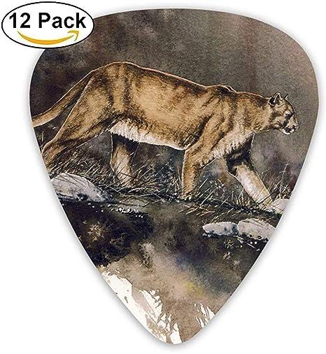 Sherly Yard 12 pack Púas de guitarra personalizadas Puma Pintura Obra estándar Guitarrista bajo Regalos de música: Amazon.es: Instrumentos musicales