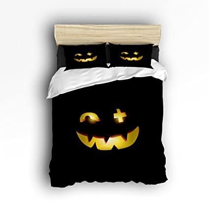 Zu0026L Home Black Halloween Pumpkin Novelty Face Decorative Bedding Sets 4  Pieces Duvet Cover Set Luxury