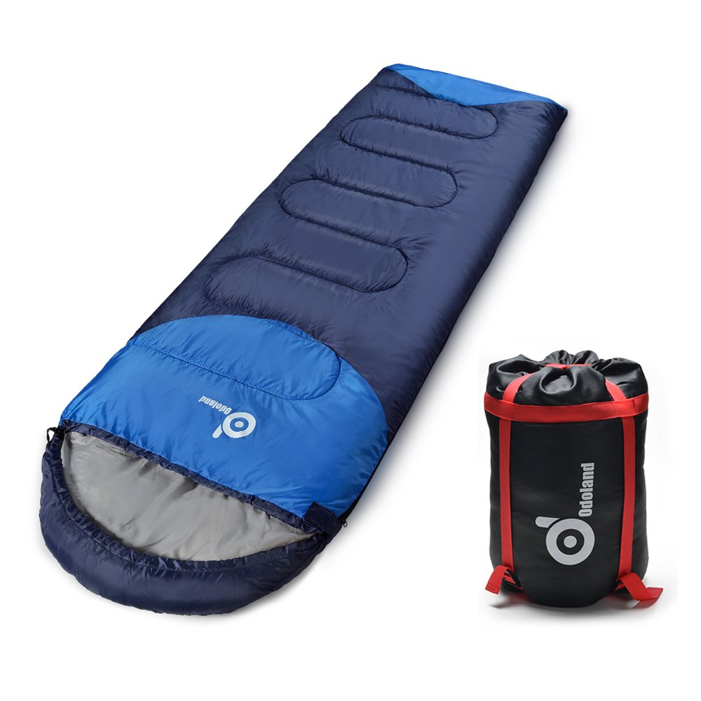 ODOLAND Cool Weather Waterproof Windproof Envelope Sleeping Bag with Compression Bag - Comfort Lightweight Portable Camping Gear for Outdoor Hiking, ...