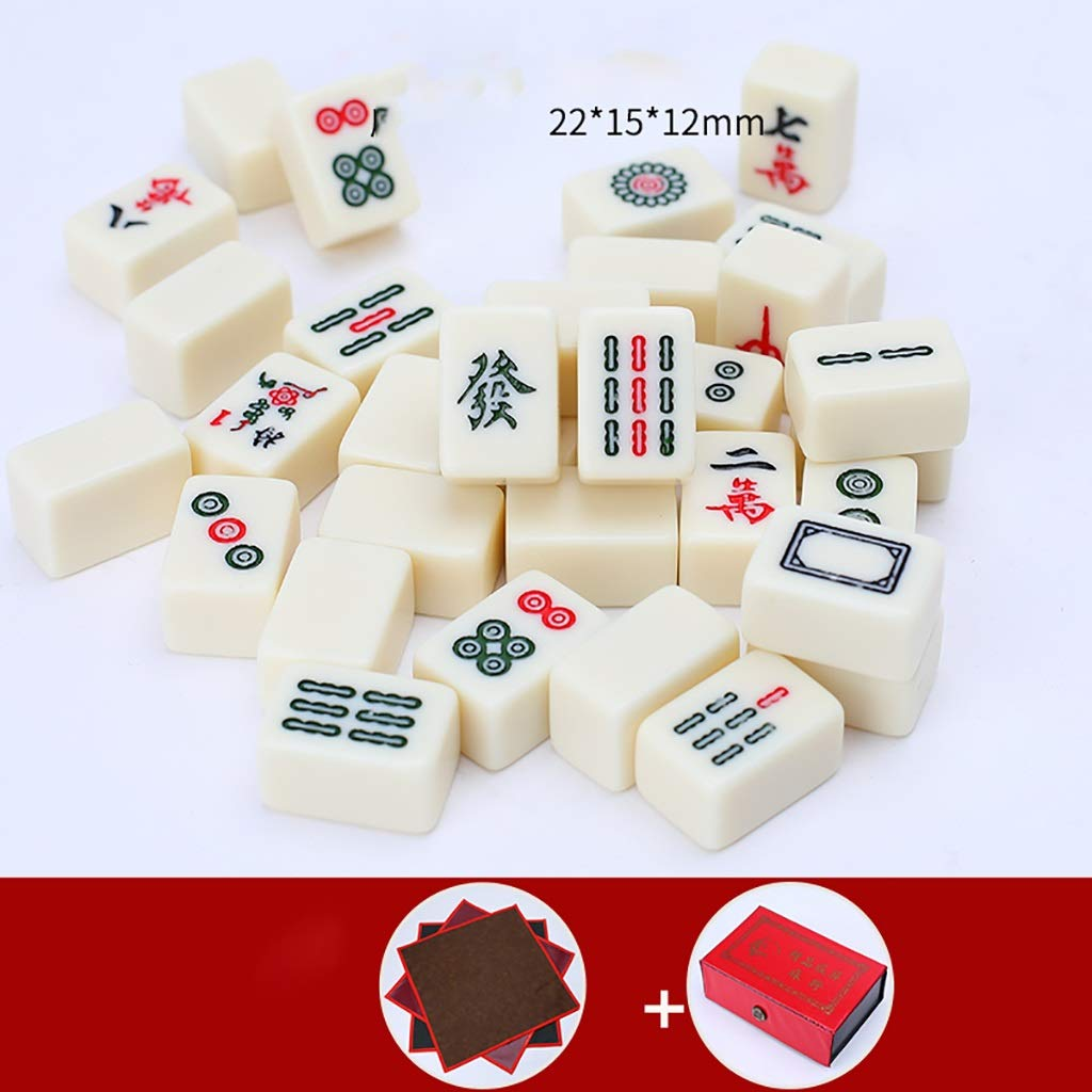 NuoEn Mini Mahjong With Bag Traditional Chinese Version Game Set Portable 144 Tiles Acrylic Material Mah-Jongg Travel Family Leisure Time Creative Decompression Gift
