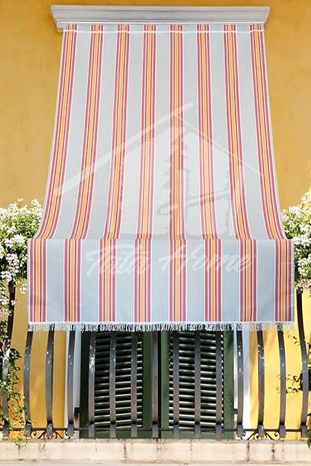 Tenda da Sole con Kit Ganci e Anelli in Tessuto Multirighe Resistente da Esterno o Balcone Misura cm 140x250 Dis.6 Colore Bordeaux