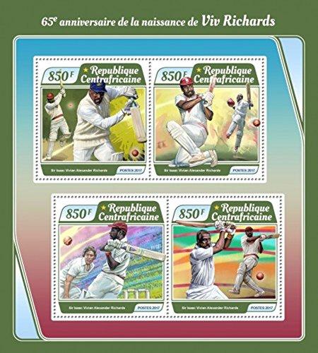 Central Africa - 2017 Viv Richards - 4 Stamp Sheet - CA17502a (Best Of Viv Richards)
